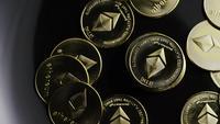 Rotating shot of Bitcoins (digital cryptocurrency) - BITCOIN ETHEREUM 167