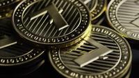 Rotating shot of Bitcoins (digital cryptocurrency) - BITCOIN LITECOIN 246