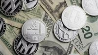 Rotating shot of Bitcoins (digital cryptocurrency) - BITCOIN LITECOIN 657
