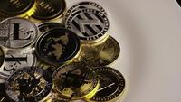 Rotating shot of Bitcoins (digital cryptocurrency) - BITCOIN MIXED 063