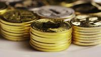 Rotating shot of Bitcoins (digital cryptocurrency) - BITCOIN MIXED 034