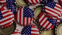 Rotating shot of bottle caps with the American flag printed on them - BOTTLE CAPS 025