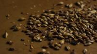 Rotating shot of barley and other beer brewing ingredients - BEER BREWING 087