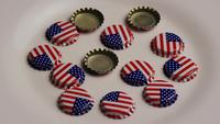 Rotating shot of bottle caps with the American flag printed on them - BOTTLE CAPS 008