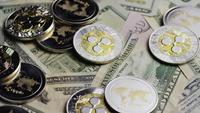 Rotating shot of Bitcoins (digital cryptocurrency) - BITCOIN RIPPLE 0303