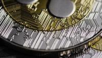 Rotating shot of Bitcoins (digital cryptocurrency) - BITCOIN RIPPLE 0191