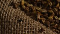 Rotating shot of barley and other beer brewing ingredients - BEER BREWING 235