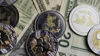 Rotating shot of Bitcoins (digital cryptocurrency) - BITCOIN RIPPLE 0294