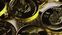 Rotating shot of Titan Bitcoins (digital cryptocurrency) - BITCOIN TITAN 100