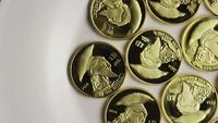 Rotating shot of Titan Bitcoins (digital cryptocurrency) - BITCOIN TITAN 004