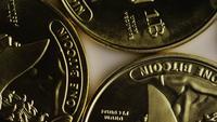 Rotating shot of Titan Bitcoins (digital cryptocurrency) - BITCOIN TITAN 011