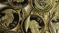 Rotating shot of Titan Bitcoins (digital cryptocurrency) - BITCOIN TITAN 122