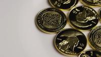 Rotating shot of Titan Bitcoins (digital cryptocurrency) - BITCOIN TITAN 057