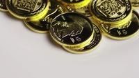 Rotating shot of Titan Bitcoins (digital cryptocurrency) - BITCOIN TITAN 135