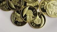 Rotating shot of Titan Bitcoins (digital cryptocurrency) - BITCOIN TITAN 083