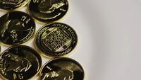 Rotating shot of Titan Bitcoins (digital cryptocurrency) - BITCOIN TITAN 056