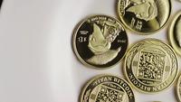 Rotating shot of Titan Bitcoins (digital cryptocurrency) - BITCOIN TITAN 044