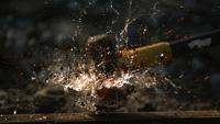 Glass bottle smashed in ultra slow motion (1,500 fps) - BOTTLE SMASH PHANTOM 006