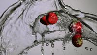 Water splash with fruit in ultra slow motion (1,500 fps) on a reflective surface - WATER SPLASH w FRUIT 016