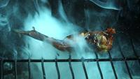 BBQ Chicken Chicken Wings in ultra slow motion (1.500 fps) op een Wood Smoked Grill - BBQ PHANTOM 005