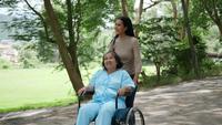 Ältere Frau mit ihrer Tochter, die Rollstuhl um den Park drückt