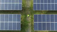 Aerial view of Engineering checking Solar cell Farm