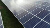 Vista aérea, de, célula solar, fazenda