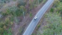 Aerial Shot Of Car Driving Through Forest Road