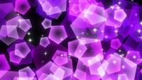 Purple sparkly pentagonal particles rising