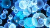 Blauwe sprankelende ronde deeltjes die opstaan