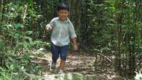Menino correndo e brincando na floresta