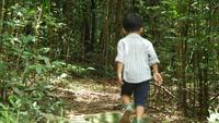 Garçon courir et jouer dans la forêt