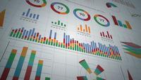 Bedrijfsstatistieken, marktgegevens en infographicslay-outpakket