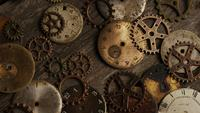 Rotating stock footage shot of antique and weathered watch faces - WATCH FACES 096
