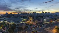 Time-lapse natt till dag: Morgon soluppgång i Bangkok
