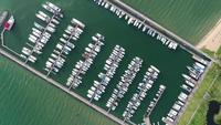 Aerial view of Marina yacht boat on the bay