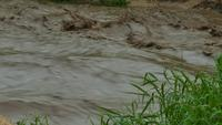 La dangereuse crue éclair de l'eau tombe pendant la saison des pluies