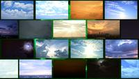 Bewölkter Sonnenaufgang, Sonnenuntergang und Sturm der Zeitspanne mit Klimawandel