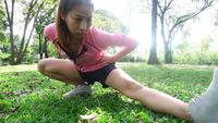 Slow motion - Healthy asian woman exercising at park. Fit young woman doing training workout in morning.