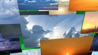 Bewolkte zonsopgang, zonsondergang en storm