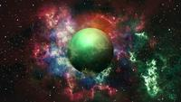 Green planet in nebula galaxy on space shining star