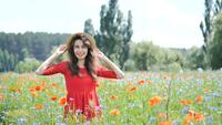 Free Happy Woman in a Red Dress Enjoying Nature