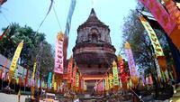Wat Lokmolee temple in Chiang Mai , Thailand (by fisheye lens)