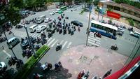 Ho chi minh city traffic at Intersection , Vietnam