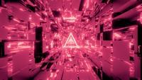 Glödande trådram med SciFi Space Tunnel