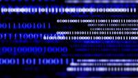 En dataström med blinkande binära nummer