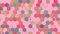 3D illustrations, abstract geometric backgrounds, light pink tones, colorful boxes