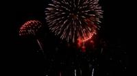 Hermoso espectáculo de fuegos artificiales en la noche