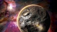 Un monde extraterrestre tourne lentement devant la nébuleuse d'Orion.