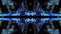 Een futuristische caleidoscoop van technologie reflecteert en draait
